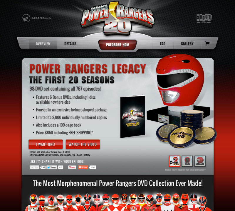5D Spectrum launches a microsite for the Power Rangers Legacy - The First 20 Seasons - 98-Disc DVD set in a Collectible Helmet Package
